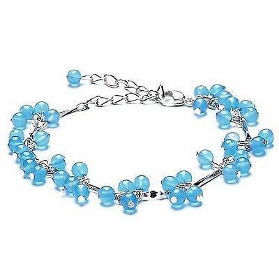 feng shui handmade Aqua Aura blue crystal beads Bracelet amulet for protection