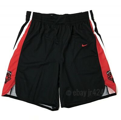 New Nike Mens L Rutgers Scarlet Knights Elite Basketball Shorts Black Red