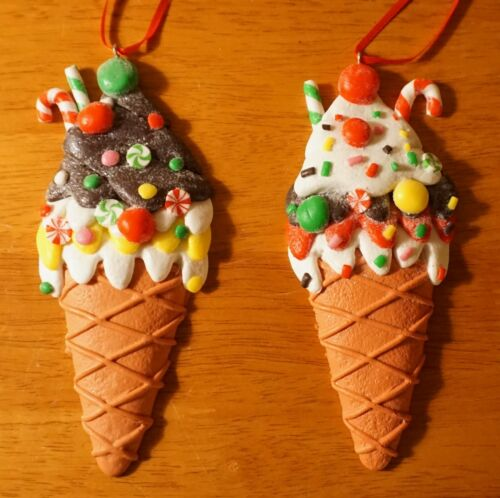 Pair of Ice Cream Ornaments Christmas Candy Cane Peppermints Kitchen Home Decor