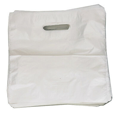 500 Carrier Bags Small White Patch Handle Fashion Plain Strong  10