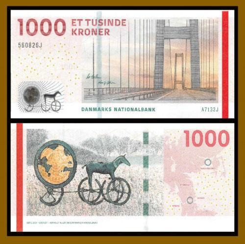 Denmark 1000 Kroner, 2013 P-69c Trundholm Sun chariot Great Belt Bridge Unc
