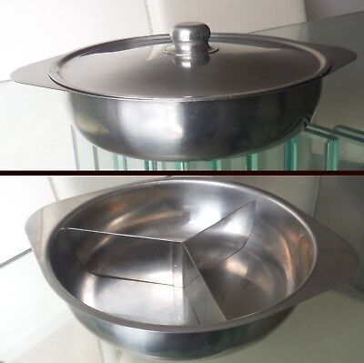 RETRO SWEDISH STAINLESS STEEL SERVING DISH-WITH ORIGINAL DIVIDERS %