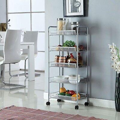 Silver 5 Tier Mesh Rolling Cart Trolley Storage Rack Wheel for Kitchen Bathroom - 5 Tier-mesh