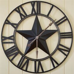 PARK DESIGNS STAR WALL CLOCK NEW METAL BLACK PRIMITIVE
