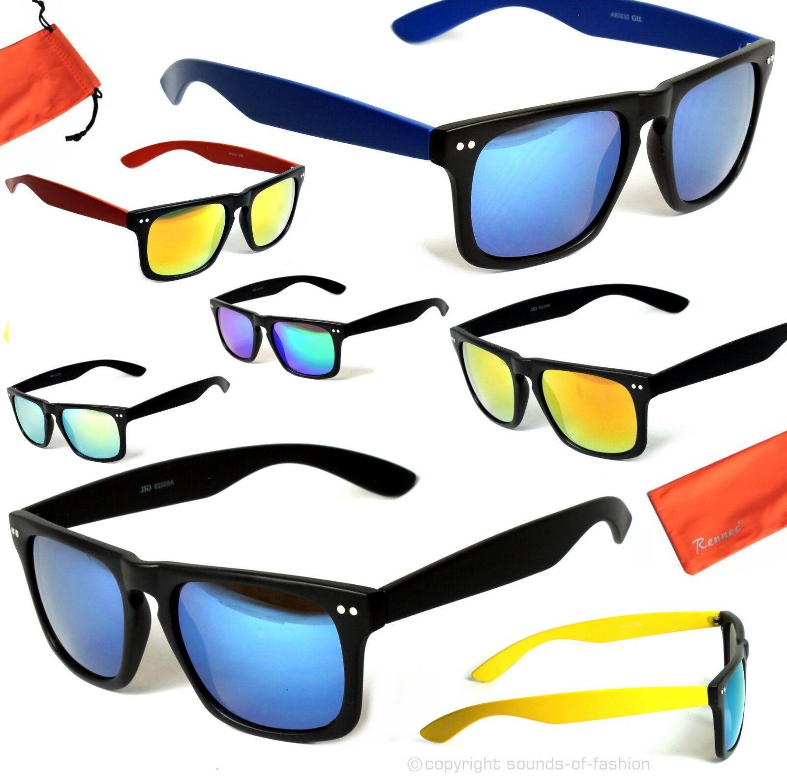 Schmale Rechteck Sonnenbrille Verspiegelt Retro Nerd Brille Herren Damen WF3