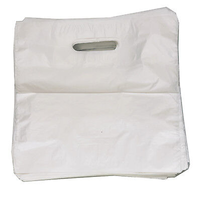 25 White Patch Handle Carrier Gift Retail Plastic Bags Scorpion 15