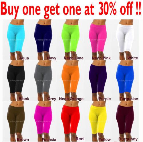 Womens Leggings Stretch Biker Shorts Workout Nylon Yoga Pants Size XS,S,M,L New