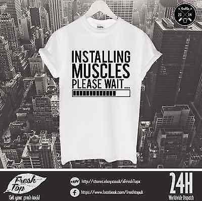 Installing Muscles T Shirt Gym Body Diet Superman Batman Workout Loading Hulk (Hulk Muscle T Shirt)