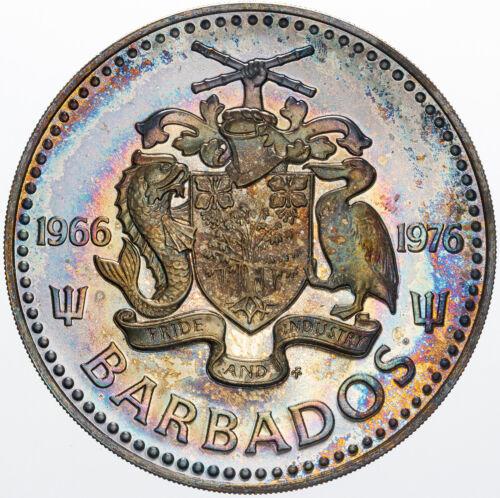 1976 BARBADOS FIVE DOLLARS SILVER UNC WONDERFUL MULTI COLOR BOLD TONED BU (MR)