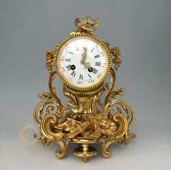 STUNNING ANTIQUE 19TH CENTURY FRENCH JAPY FRERES ORMOLU BRONZE MANTLE CLOCK