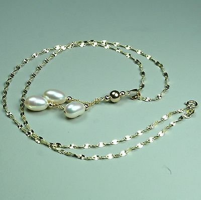 14K solid yellow gold natural AAA freshwater white pearl necklace 20 inches