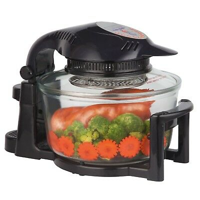 12 Litre Black Premium Digital Halogen Convection Oven Cooker with Hinged Lid