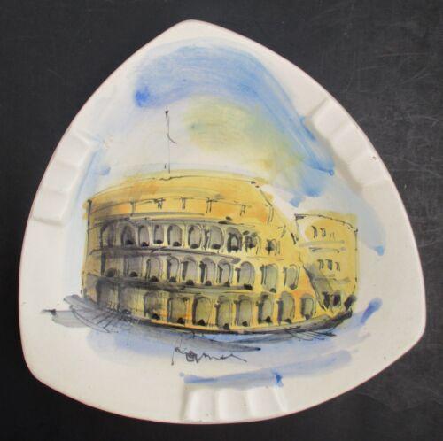 Vintage Scene of Coliseum Rome Italy Italian Souvenir Ceramic 3 Sided Ashtray