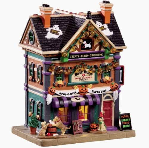 Lemax Spooky Town BEST BUDS DOG SUPPLY STORE #95459 ILLUMINATED BUILDING