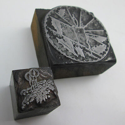 2 Burning Candles Letterpress Printing Blocks 1 78 By 1 1316 1316 By 1316