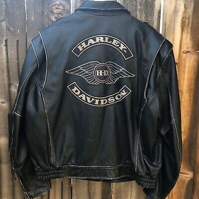 Men's Harley Davidson Distressed Black Leather Jacket SIZE 2X XXL Moto zip wings