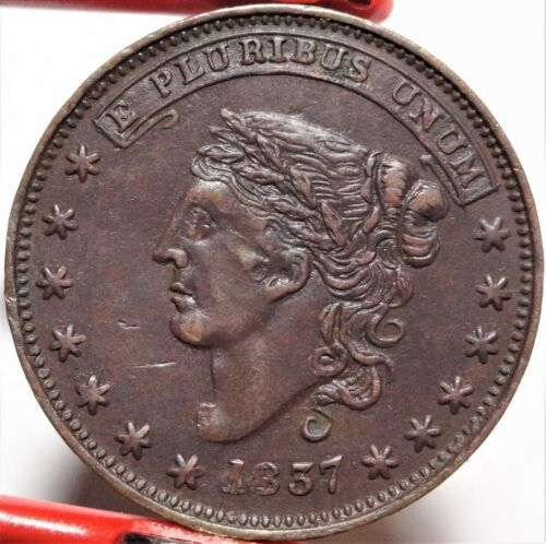 HT-23 Low-65 1837 Liberty Head / 1841 Webster Credit Current Hard Times Token