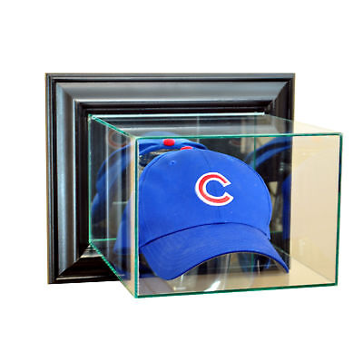(WALL MOUNT GLASS CAP HAT DISPLAY CASE UV PROTECTION BLACK WOOD)