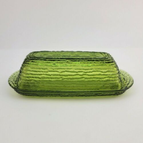 Vintage Anchor Hocking Soreno Covered Butter Dish Avocado Green Textured Glass