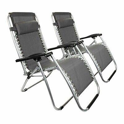 2 x Grey Textoline Zero Gravity Chair Garden Pool Reclining Folding Sun Lounger