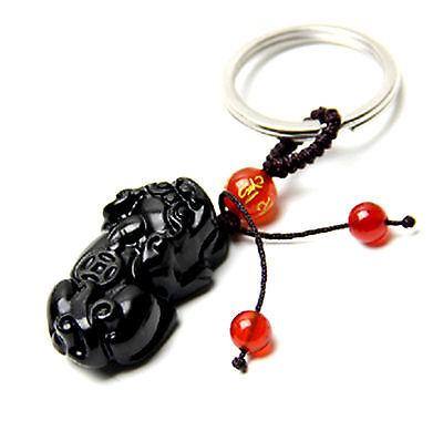 Feng Shui Obsidian Pi Yao / Pi Xiu xie key chain ring amulet attrack wealth