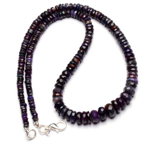 """Natural Gem Sugilite 4 to 8mm Size Faceted Rondelle Beads Necklace 16"""""""