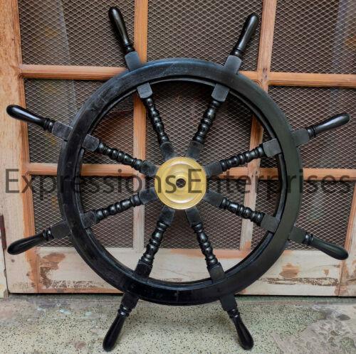 "Black Wooden Wheel 36"" Big Life Size Nautical Wall Decor Helm Brass Center Navy"