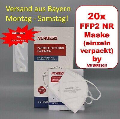 20x FFP2 Maske Mund Nase Mundschutz Gesichtsmaske CE 2834 weiß 5-lagig Angebot!