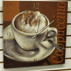 LARGE 16 SQUARE POSTER BOARD WALL CLOCK - DISPLAYING A CUP OF CAPPUCCINO