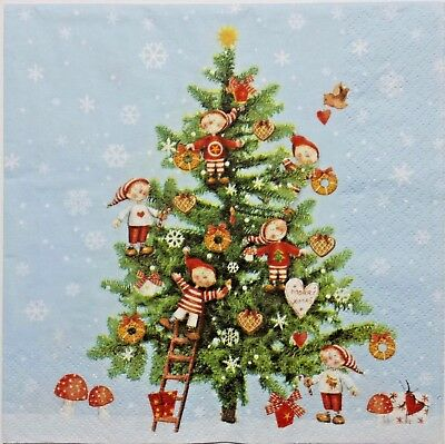 CHRISTMAS WINTER TREE 2 single LUNCH SIZE paper napkins for decoupage 3-ply  (Paper Christmas Tree)