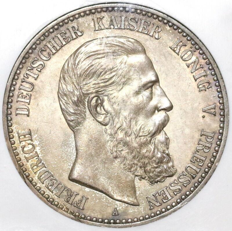 1888 NGC AU 55 Prussia 5 Mark Friedrich III Silver Coin (20021301C)