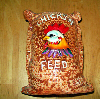 VINTAGE ENESCO Imports JAPAN CERAMIC BANK  Burlap Chicken Feed Bag  ROOSTER Farm