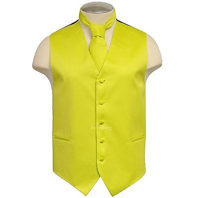 New Brand Q Men's Vest tuxedo waistcoat & Necktie Florescent
