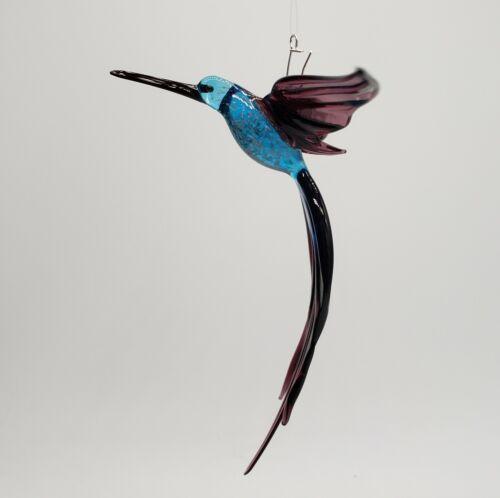 Handblown glass art hanging figurine Hummingbird. Torchwork, handmade in the U.S