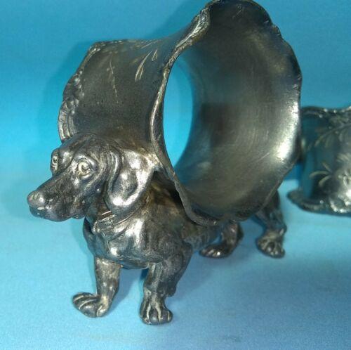 Antique American Pair Figural Napkin Ring Dachshund Silver Plate Victorian origi