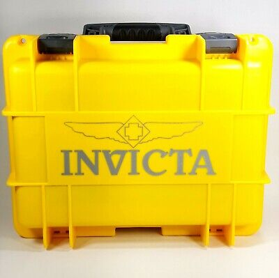 Invicta Diver Watch Carrying Case Yellow Sport Waterproof 8 Slot Storage Box