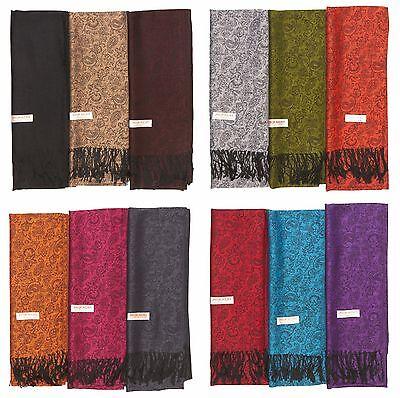 Lot of 12 NEW Soft Silk Women Pashmina Cashmere Shawl scarf Stole Wrap Wholesale