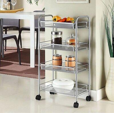 4 Tier-mesh (Silver 4 Tier Mesh Rolling Cart Trolley Storage Rack Wheel for Kitchen Bathroom)