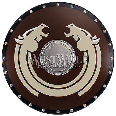 Round VIKING HORSE LORD SHIELD -- sca/larp/norse/celtic/medieval/wooden/armor