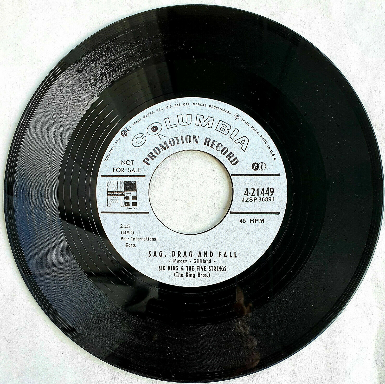 Sid King & The Five Strings - Sag Drag And Fall       Rockabilly  45rpm