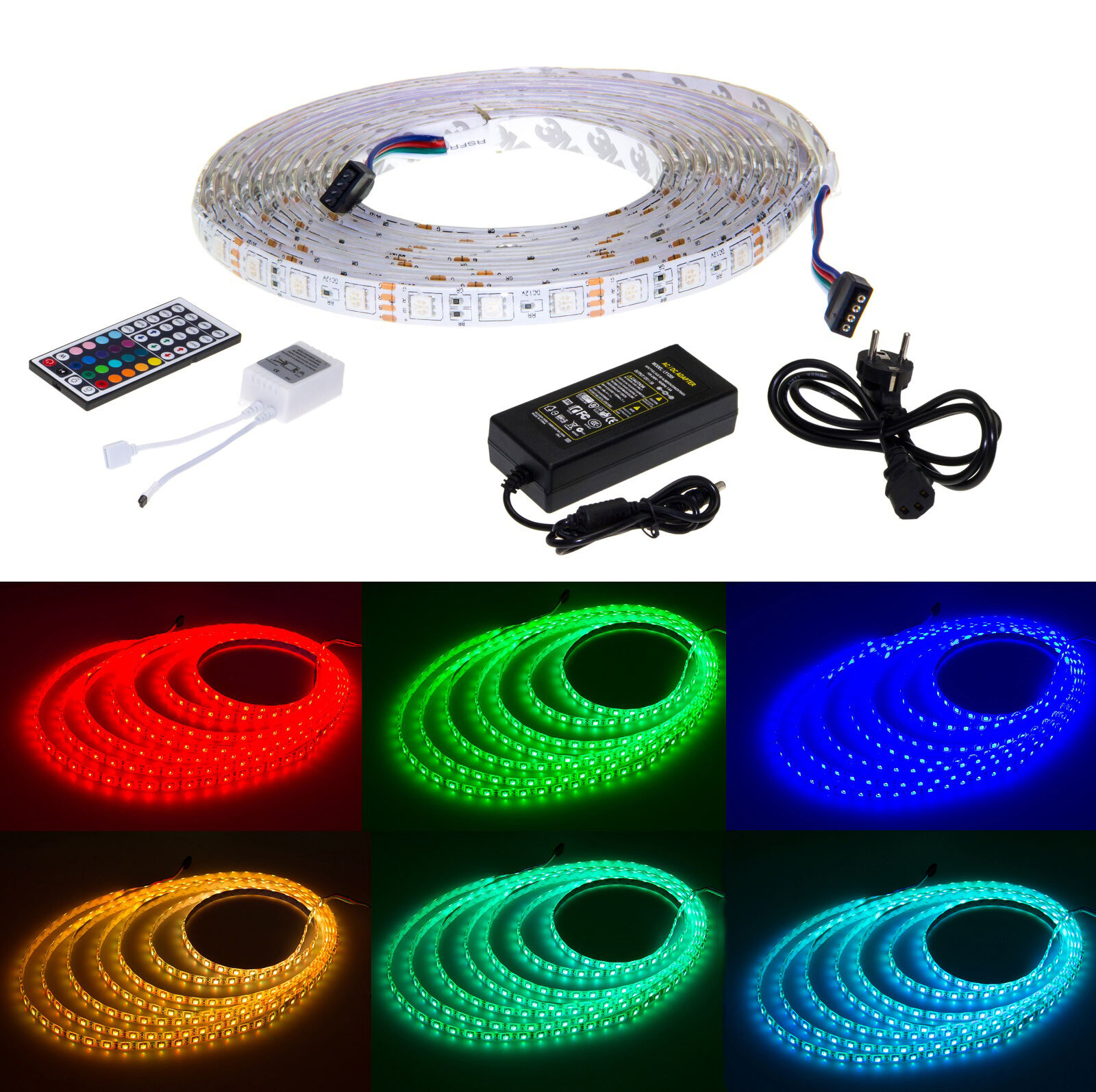 led leiste strip 5m rgb lichterkette lichter streifen smd leuchte band netzteil ebay. Black Bedroom Furniture Sets. Home Design Ideas