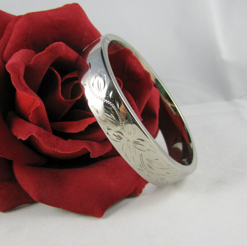 Sterling Silver 25g Etched Bangle  Bracelet FERAL CAT RESCUE