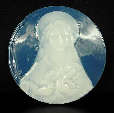"""Médaillon par Camille Tharaud Virgin Maria """"à la Vierge Marie"""" Limoges vers 1930"""