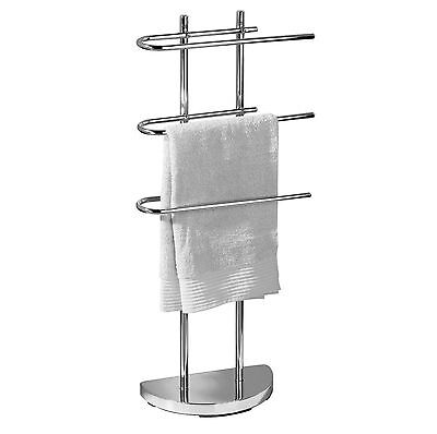 3 Arm Free Standing Chrome Towel Rail Stand Bathroom Storage Rack Holder Shelf