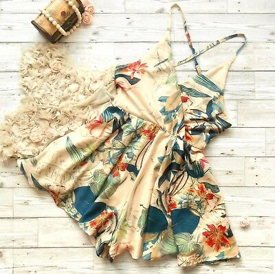 Beige Floral/Palm Leaf Wrap Backless Cross Strap Cami Culotte Playsuit UK 12 ()