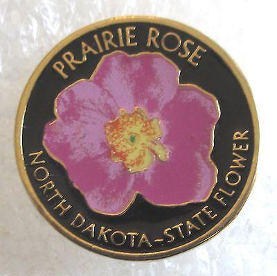 State of North Dakota Prairie Rose State Flower Souvenir Collector Pin