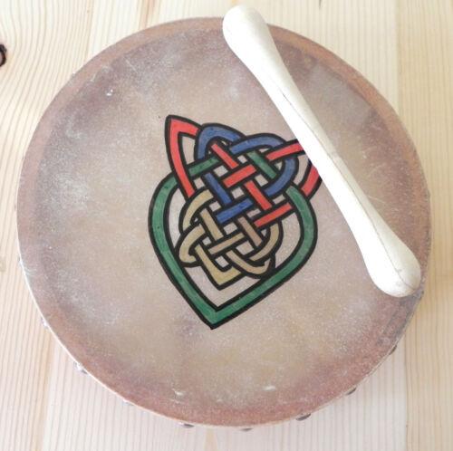 "Vtg Bodhran Handpainted Handmade Celtic Design Drum/Stick/Book 8"" Goatskin"
