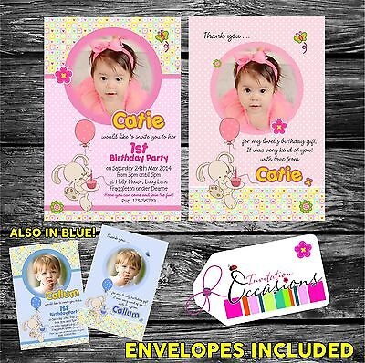 Personalised Girls First Birthday Invitations OR 1st Birthday Thank You card x 5 (Personalized First Birthday Invitations)