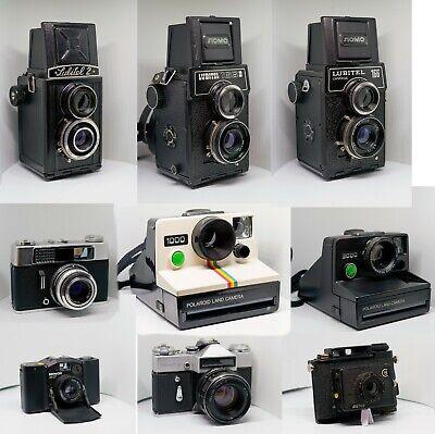 Stock!!! 9 macchine fotografiche vintage, polaroid, lubitel, reflex, rullino