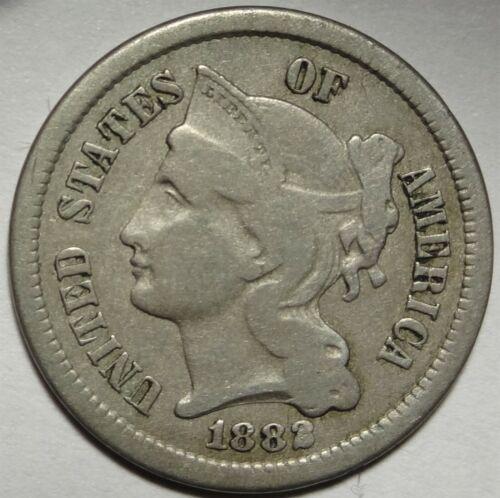 1882 Three Cent Nickel Very Fine Key Date 3CN Coin #1